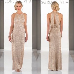 Sorella Vita 8846 Gold Sequin Maxi Formal Dress 12